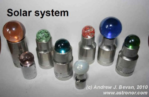Marbles mounted on socket wrenches to represent the Sun and 6 inner Planets. A white Moon is included.
